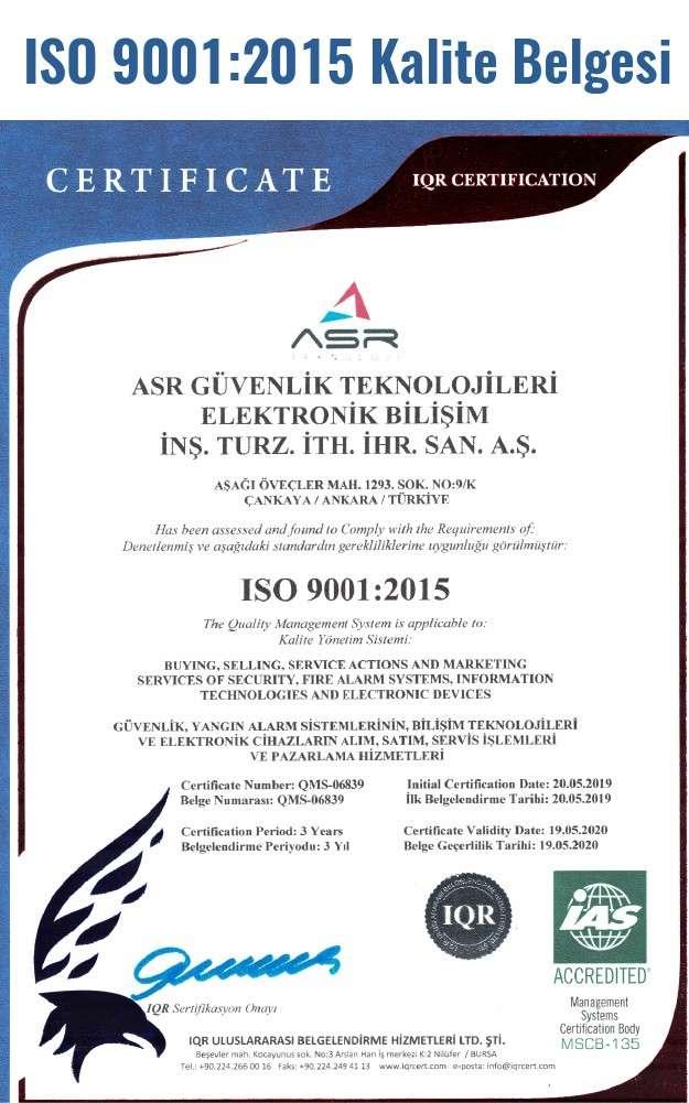 ISO 9001:2015 Kalite belgesi