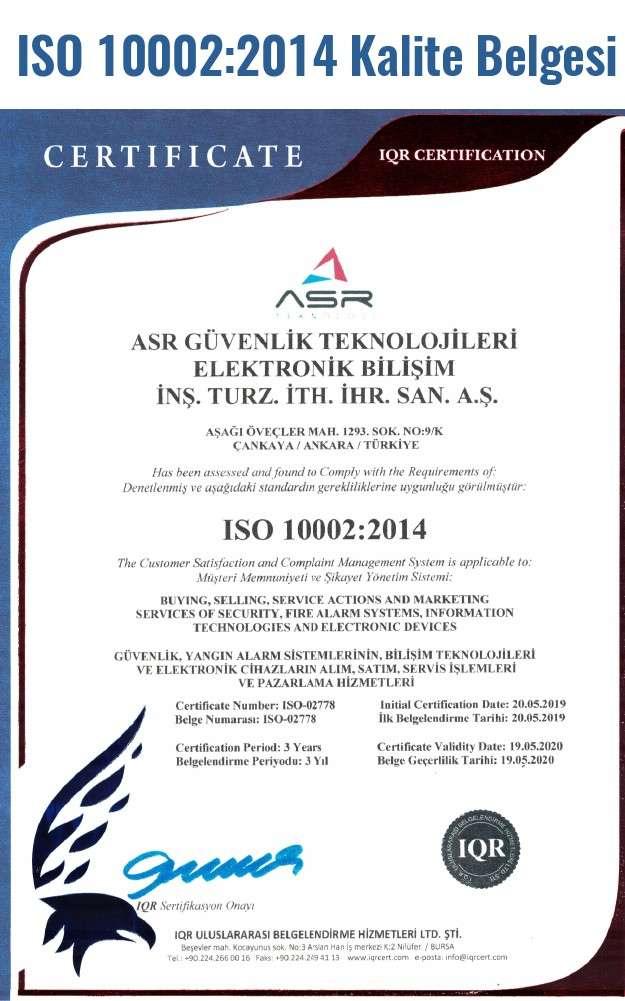 ISO 10002:2014 Kalite belgesi