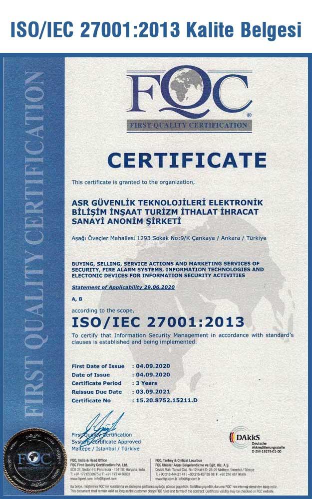 ISO 27001:2013 Kalite belgesi