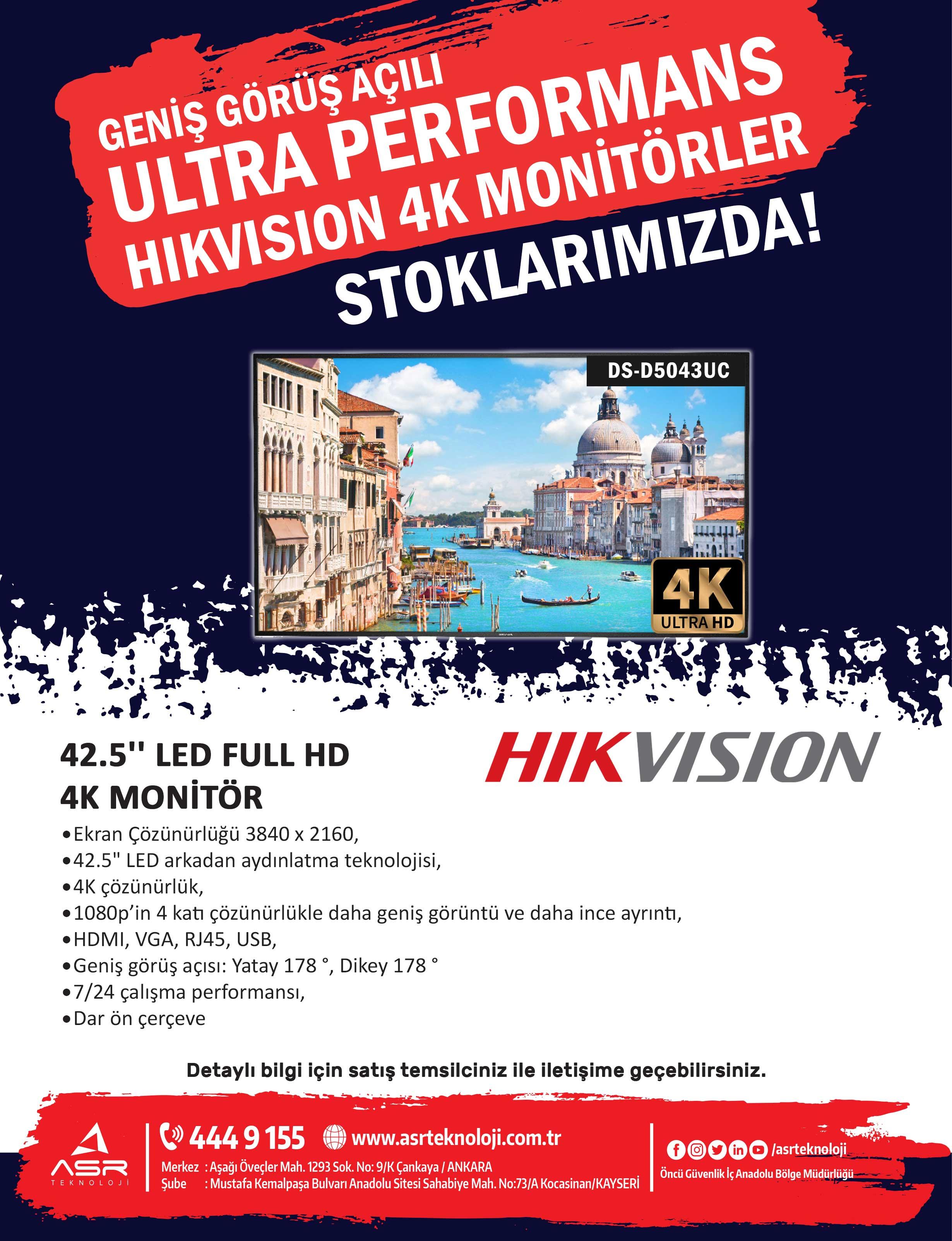 Geniş Görüş Açılı, Ultra Performans, Hikvision 4K Monitörler Stoklarımızda!..