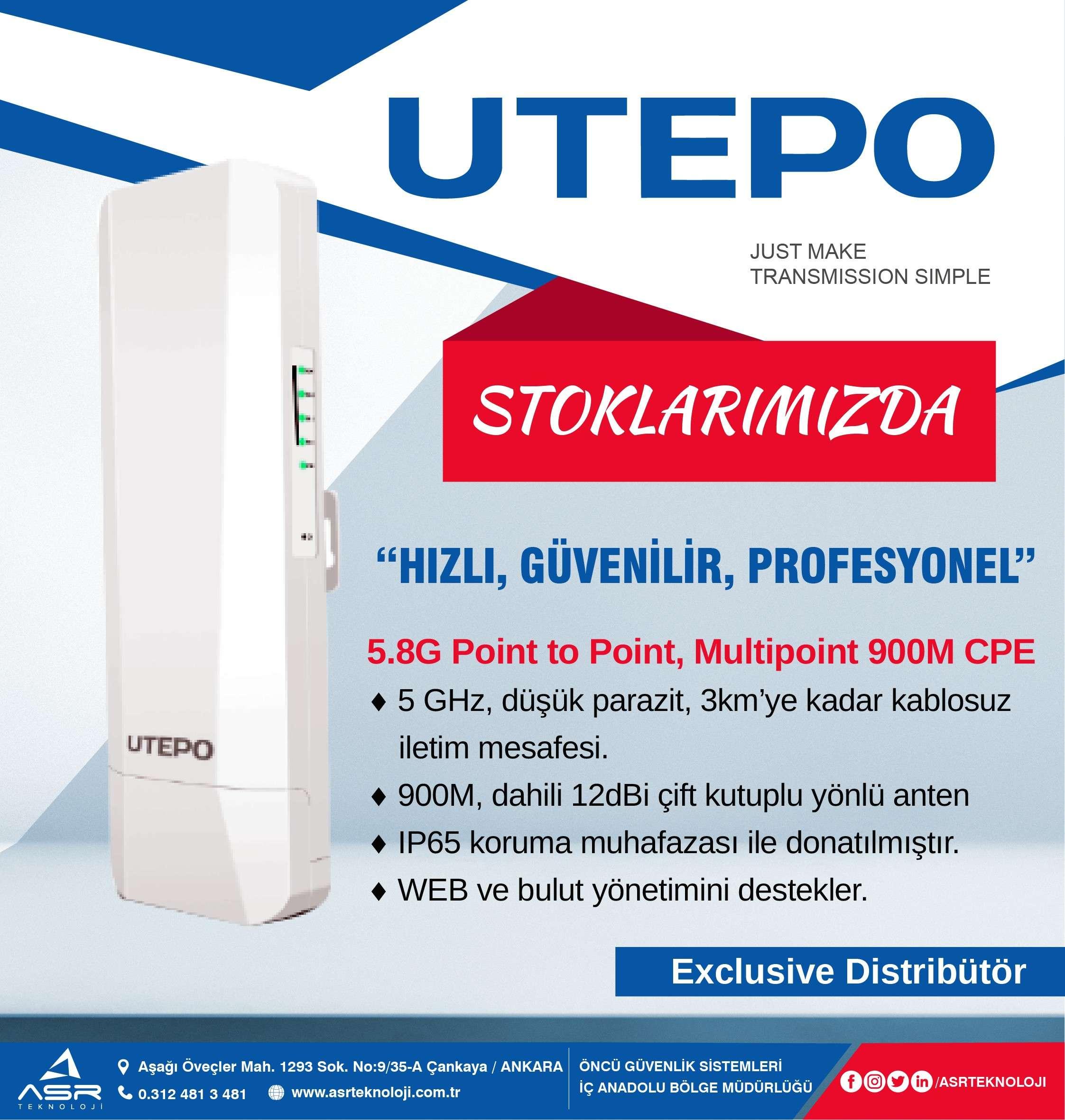 UTEPO CP5-900 serisi Artık ASR Teknoloji Stoklarında...